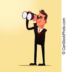 Happy smiling successful businessman office worker man character looking future plane idea through binoculars. Business financial career strategy flat cartoon graphic design concept illustration