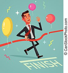 Happy smiling successful businessman office worker winner character crossing finish line. Vector flat cartoon illustration