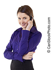 smiling successful businesswoman with cell phone