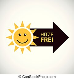 happy smiling summer sun with german text heat free