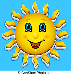 Happy smiling sun on blue sky