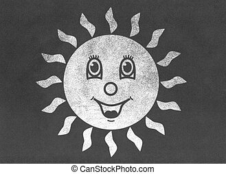 Happy smiling sun on chalkboard