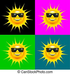 happy smiling sun with sun glasses set