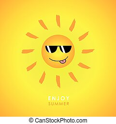 happy smiling sun with sunglasses on yellow background