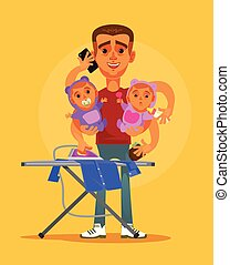 Happy smiling super hero multitasking housewife husband character doing all home work and taking care about two children. Parenting and domestic family life style concept vector cartoon illustration
