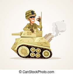 Happy smiling tank man character. Vector flat cartoon illustration