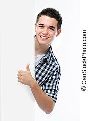 smiling teenager shows a thumbs up