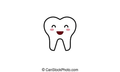 happy smiling tooth cartoon character hygiene dental...