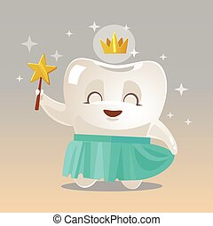 Happy smiling Tooth Fairy character. Vector cartoon illustration