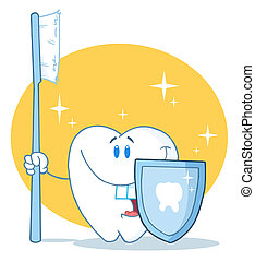 Dental Tooth Character Holding A Blue Toothbrush And Shield
