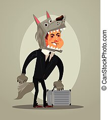 Happy smiling wolf dog businessman office worker manager character. Vector flat cartoon illustration