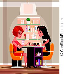 Happy smiling woman character doing manicure in beauty salon. Vector flat cartoon illustration