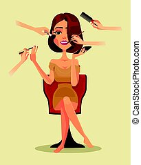 Happy smiling woman character in beauty salon. Vector flat cartoon illustration