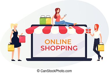 Happy smiling woman character making purchases by online shop store. Internet shopping banner poster web page concept. Vector flat graphic design cartoon illustration