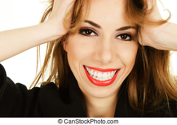 Happy smiling woman face