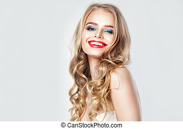 Happy Smiling Woman Fashion Model. Pretty Female Face with Blonde Curly Hair, Makeup and Cute Smile on Banner Background with Copy space