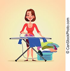 Happy smiling woman housewife character ironing clothes. Vector flat cartoon illustration