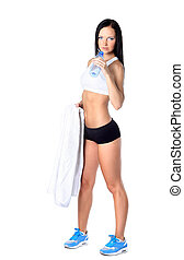 happy smiling woman in sportswear drinking water, isolated over white background