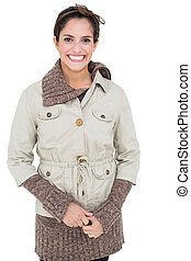 Happy smiling woman in winter fashion looking at camera