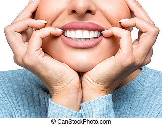 Happy smiling woman mouth with great teeth over white background.