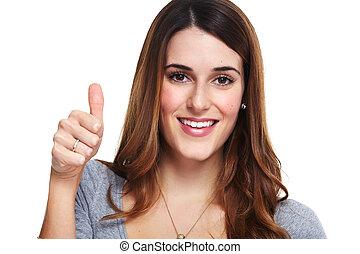 Happy smiling woman portrait.