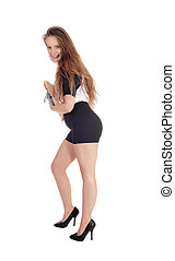 Happy smiling woman standing in shorts