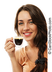 happy smiling woman wit a cup of espresso coffee on white background