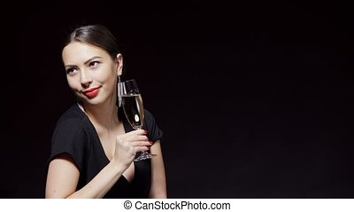 Happy smiling woman with glass of champagne - Party, drinks,...