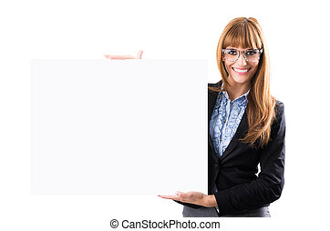 Happy smiling young business woman showing blank signboard