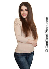 Happy smiling young casual woman in blue jeans and long hair isolated on white background