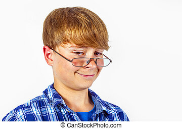 happy smiling young teen with glasses