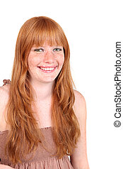 Smiling Young Woman With Long Red Hair