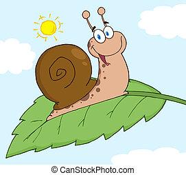Happy Snail On A Leaf