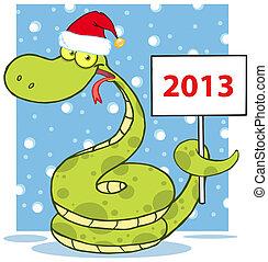 Happy Snake With Santa Hat