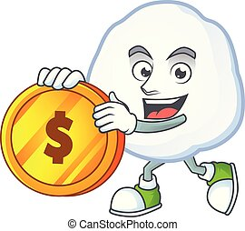 happy snowball cartoon character with gold coin