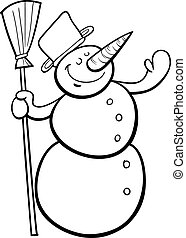 happy snowman cartoon coloring page - Black and White...