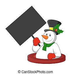 Happy Snowman Holding a Blank Board