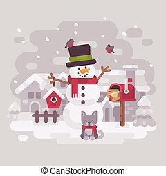 Happy snowman in a hat and scarf with a cute kitten standing near a mailbox with letters to Santa Claus holding a birdhouse in a snowy winter village. Christmas greeting card flat illustration