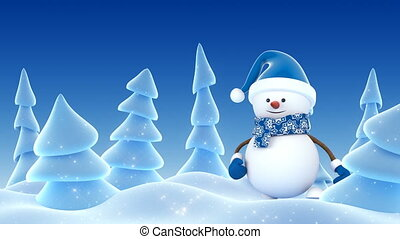 Happy Snowman in Blue Santa Hat Greeting with Hands and Smiling in Winter Forest. Beautiful 3d Cartoon Animation. Animated Greeting Card. Merry Christmas Happy New Year Concept. 4k Ultra HD 3840x2160