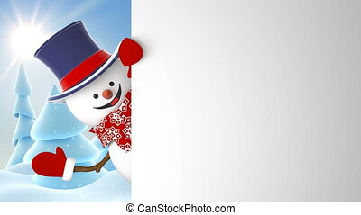 Happy Snowman in Cylinder Hat Greeting on Sunny Winter Forest Background. Beautiful 3d Cartoon Animation Green Screen Alpha Matte. Animated Greeting Card. 4k Ultra HD 3840x2160.