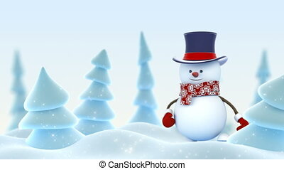 Happy Snowman in Cylinder Hat Greeting with Hand and Smiling in Winter Forest with DOF Blur. Beautiful 3d Cartoon Animation. Merry Christmas and Happy New Year Concept. 4k Ultra HD 3840x2160.
