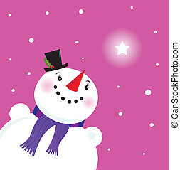 Snowman looking at the snow and christmas star. Vector Illustration.
