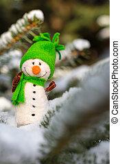 happy snowman on snow
