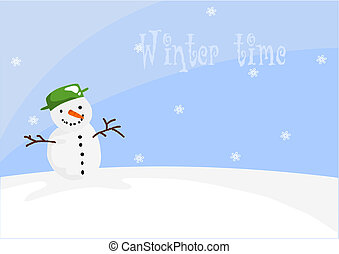 Happy snowman on the hill in winter time - vector illustration.