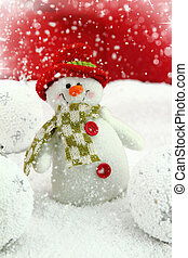 Happy snowman on the snow