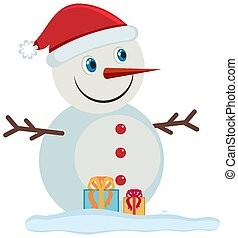 Happy snowman on white background