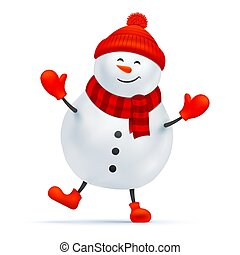 Happy snowman vector character isolated on white.