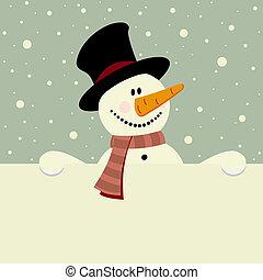 Happy snowman - vector xmas illustration of happy snowman ...