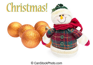 Happy snowman with balls, christmas card