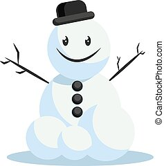 Happy snowman with black hat vector illustration on a white background